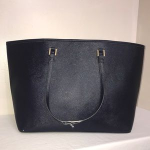 Indigo Navy Blue Leather Gold Accent Large ToteBag